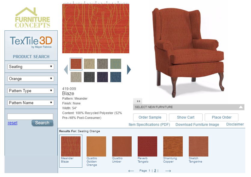 Image of a 3D contract fabrics visualizer for contract furniture buyers.
