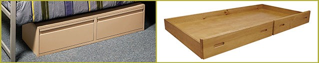 Image of summer camp furniture that adds storage space without taking up floor space.