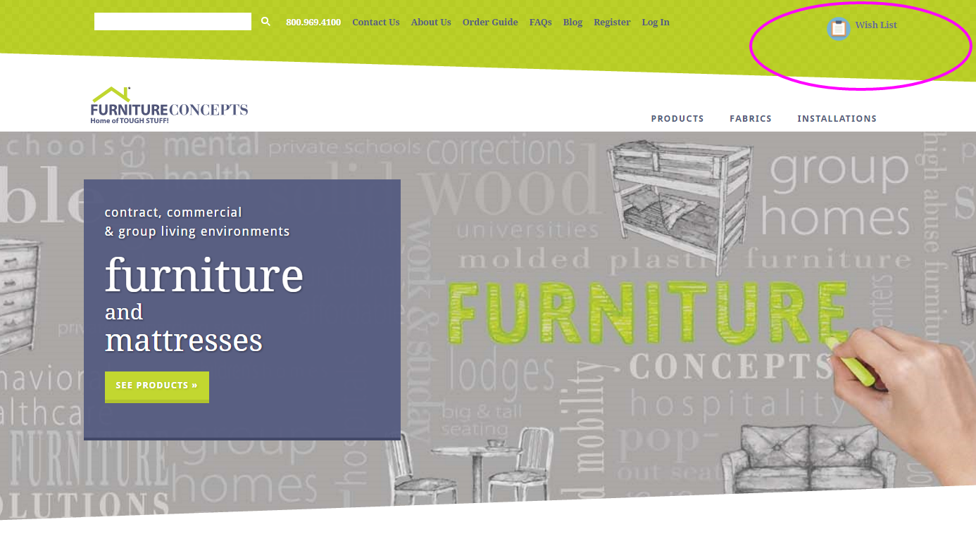 Furniture Concepts Wish List for organizational purposes.