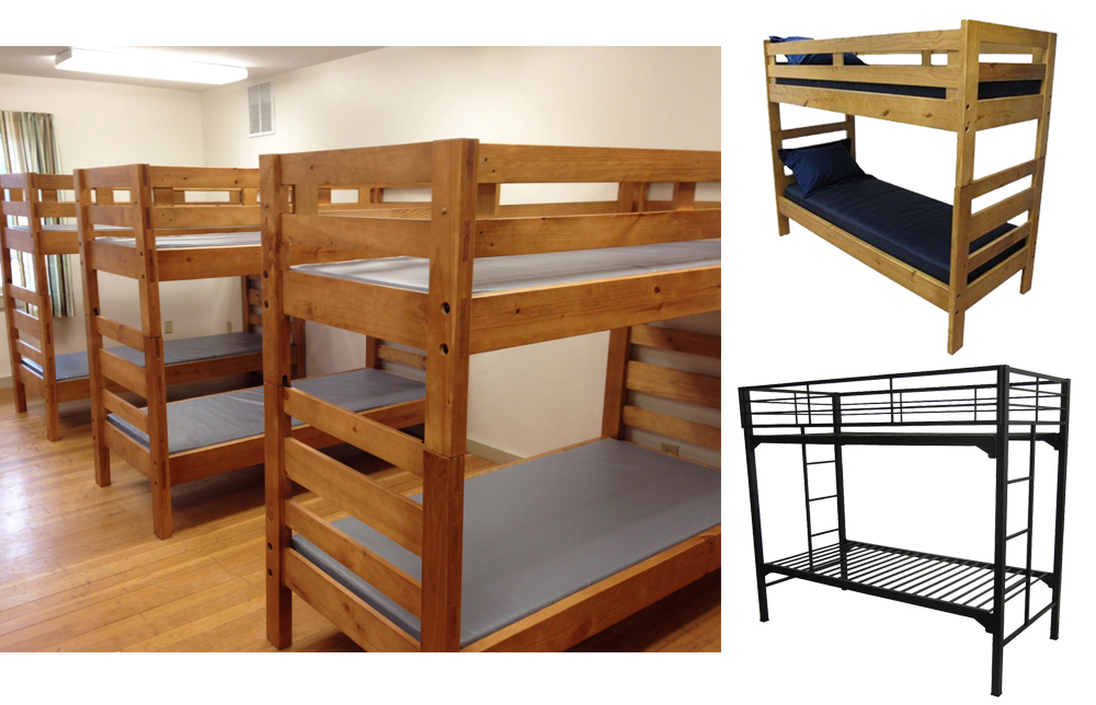 Metal and Wood Bunk Beds